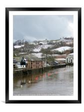Snow on the River Dart at Totnes, Framed Mounted Print