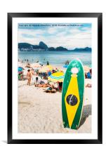 Long board with Brazilian flag on Copacabana Beach, Framed Mounted Print