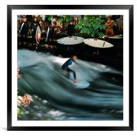 Surfer on the Eisbach at English Gardens, Munich, Framed Mounted Print