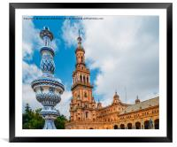 Plaza de Espana in Seville, Andalusia, Spain, Framed Mounted Print