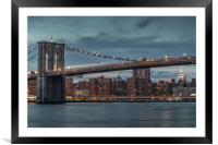Brooklyn Bridge in New York at Sunset, Framed Mounted Print