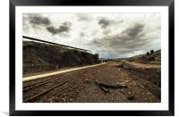 Old railroad track in the mines, Framed Mounted Print