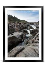 Guadiana river going down between the mountains an, Framed Mounted Print