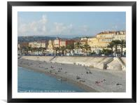View of Nice Promenade on the French Riviera , Framed Mounted Print