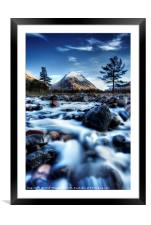 The Alt Fhaolain and Stob na Broige, Glen Etive., Framed Mounted Print