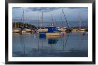 Early morning boats in harbour, Framed Mounted Print