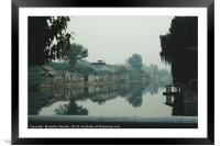 Hutongs through the smog in Beijing, Framed Mounted Print