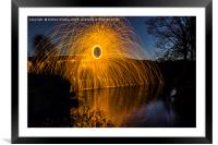 Wire wool spinning, Framed Mounted Print