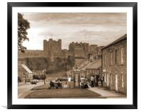Bamburgh Village and Castle - Sepia, Framed Mounted Print