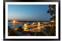 A view of Chains bridge at sunset in Budapest, Framed Mounted Print