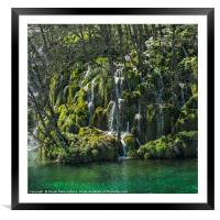 Waterfalls in spring, Framed Mounted Print
