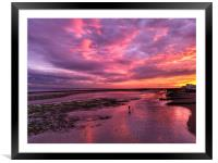 Autumn sunset over Worthing beach, Framed Mounted Print