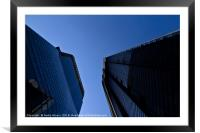 Upward view of modern London architecture, Framed Mounted Print