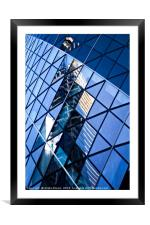 Reflections of City in the skyscraper windows, Framed Mounted Print