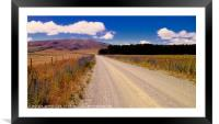 Gravel road across the Canterbury plains, New Zeal, Framed Mounted Print