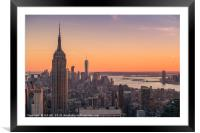 New York City at sunset, Framed Mounted Print