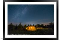 camping under stars, Framed Mounted Print
