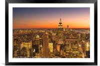 New York City at night, Framed Mounted Print