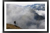 Hiker in France alps standing on edge of mountain , Framed Mounted Print