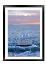 The sun sets at the coast of Nice, France, Framed Mounted Print
