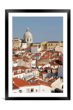 View over the old town of Lisbon, Framed Mounted Print