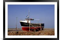 Red and black fishing boat on Lindisfarne, Framed Mounted Print