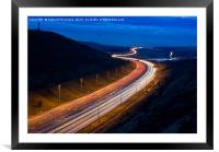 M62 light trails across the Penines in West Yorksh, Framed Mounted Print