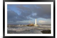 Coast - St Mary`s Island - bright stormy day , Framed Mounted Print