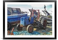 Coast - Blue tractor , Framed Mounted Print