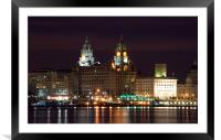 Liverpool Pierhead at Night, Framed Mounted Print