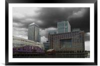 Canary Wharf Docklands, Framed Mounted Print