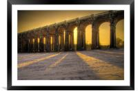 Balcombe Viaduct in the Snow at Sunset, Framed Mounted Print