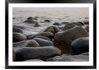 Boulders on the beach, Framed Mounted Print