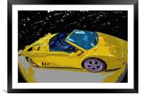 Pop-Art Lamborghini Roadster, Framed Mounted Print