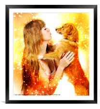 Human and Dog face to face , Framed Mounted Print