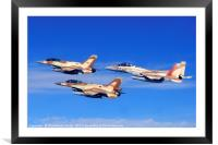 2 F-16 and one F-15 IAF fighter jets, Framed Mounted Print
