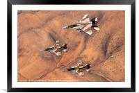 2 F16 and one F15 Israeli Air Force fighter jets, Framed Mounted Print