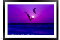 Kite surfing at sunset, Framed Mounted Print
