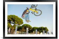 Extreme Bicycle sport jump, Framed Mounted Print