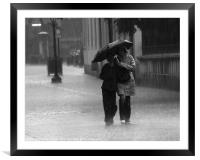 Walking in the rain, Framed Mounted Print
