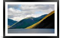 Lingmell and The Screes descend into Wastwater., Framed Mounted Print