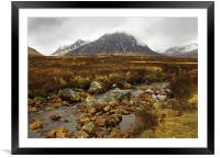 Across the Moor to Buachaille Etive Mor, Framed Mounted Print