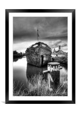 The sand barge tied up, Framed Mounted Print