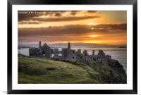 the day ends at Dunluce Castle, Framed Mounted Print