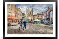 Lincoln Market and Cathedral, Framed Mounted Print