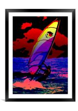 The Wind Surfer, Framed Mounted Print