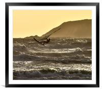 Windsurfing off Marazion Bay, Framed Mounted Print