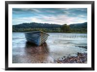 Wooden Boat On Loch Ard, Framed Mounted Print