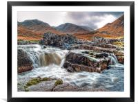 Waterfall On The River Etive, Framed Mounted Print