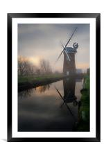 Reflecting on Horsey Mill, Framed Mounted Print